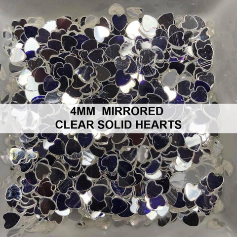4mm Mirrored Clear Solid Heart Sequins - Kat Scrappiness