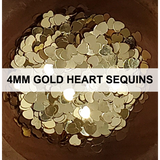 4mm Gold Heart Sequins - Kat Scrappiness