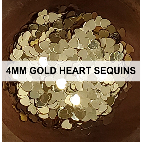 4mm Gold Heart Sequins