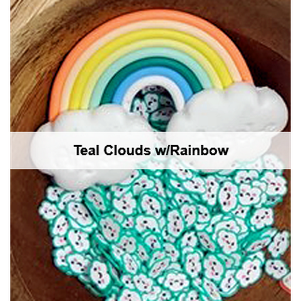 Teal Kawaii Cloud Sprinkles w/ Rainbow