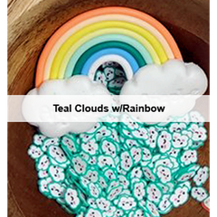 Teal Kawaii Cloud Sprinkles w/ Rainbow by Kat Scrappiness - Kat Scrappiness