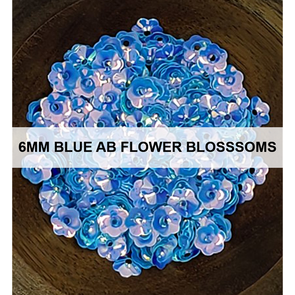 6mm Blue AB Flower Blossom - Sequins - Kat Scrappiness
