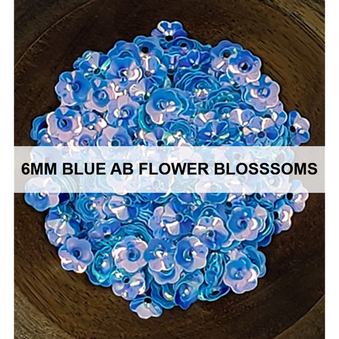 6mm Blue AB Flower Blossom - Sequins