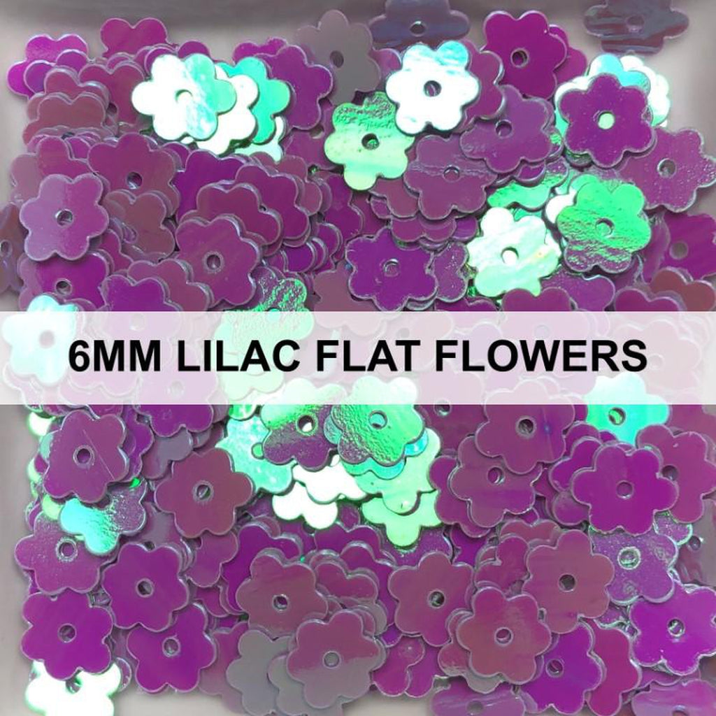 6mm Lilac Flat Flower Sequins