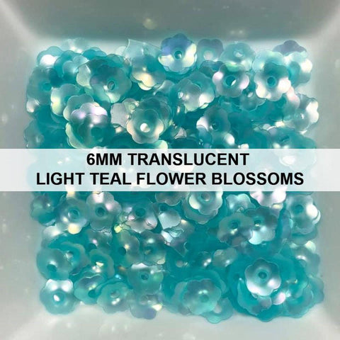 6mm Translucent Light Teal Flower Blossom Sequins - Kat Scrappiness