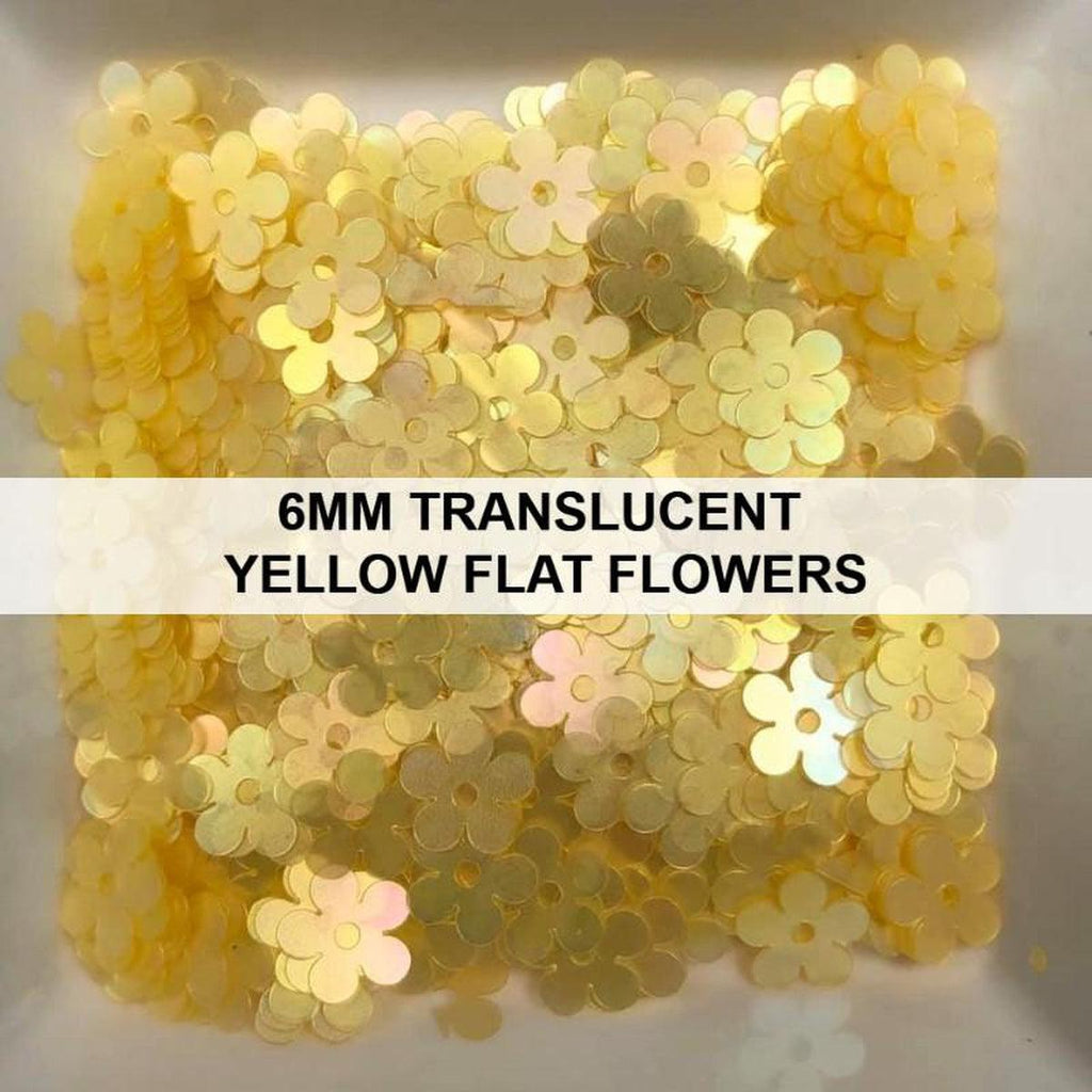 6mm Translucent Yellow Flat Flower Sequins - Kat Scrappiness