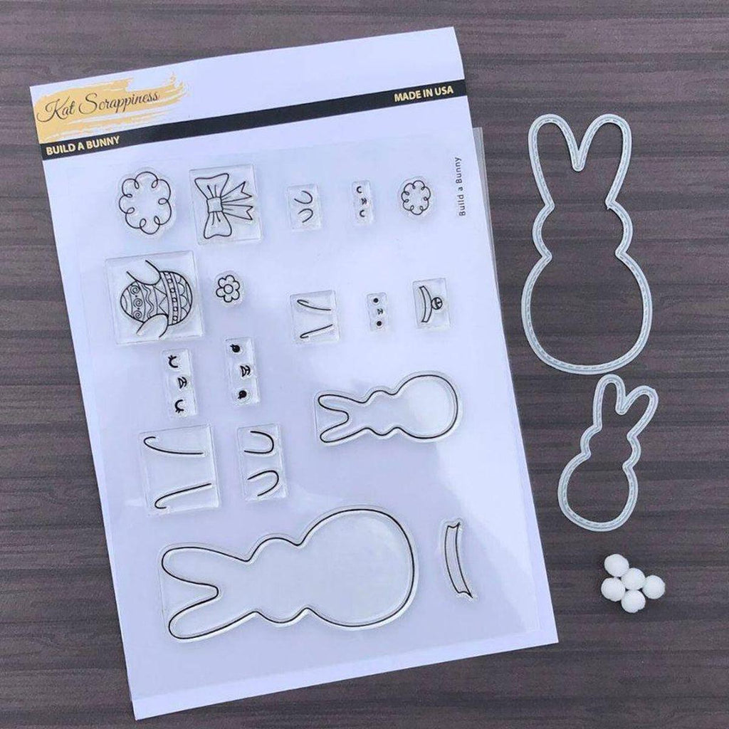 Build a Bunny 4X6 Stamp Set - Coordinates with our Stitched Bunny Outline Dies! - Kat Scrappiness