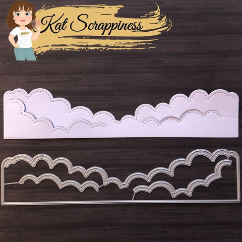 Slimline Stitched Cloud Border Die Set by Kat Scrappiness