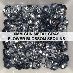 6mm Gun Metal Grey Flower Blossom Sequins - Kat Scrappiness