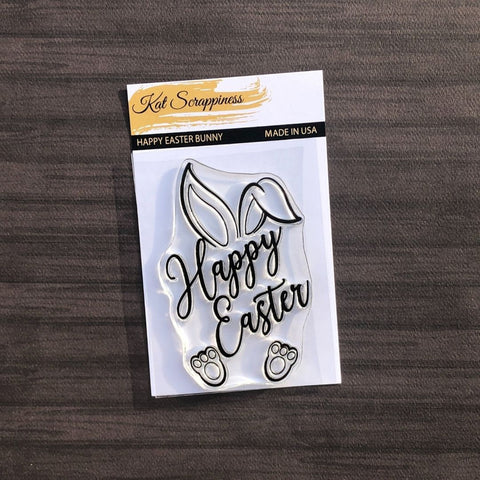 Happy Easter Bunny 3x4 Clear Stamp by Kat Scrappiness