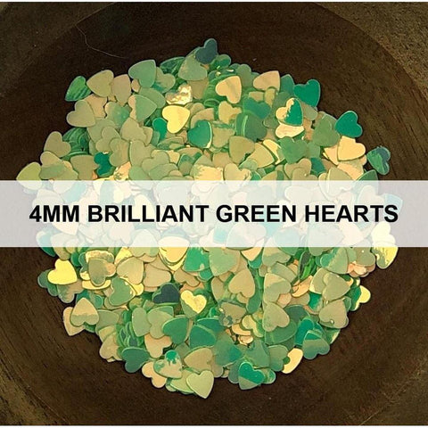 4mm Brilliant Green Hearts - Sequins