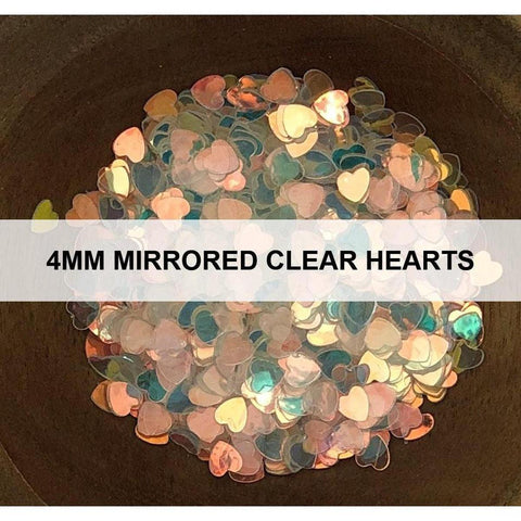 4mm Mirrored Clear Hearts - Sequins
