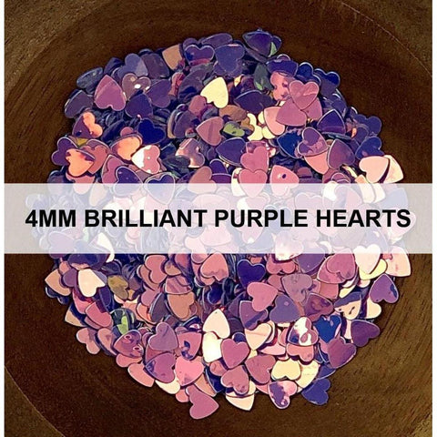 4mm Brilliant Purple Hearts - Sequins - Kat Scrappiness