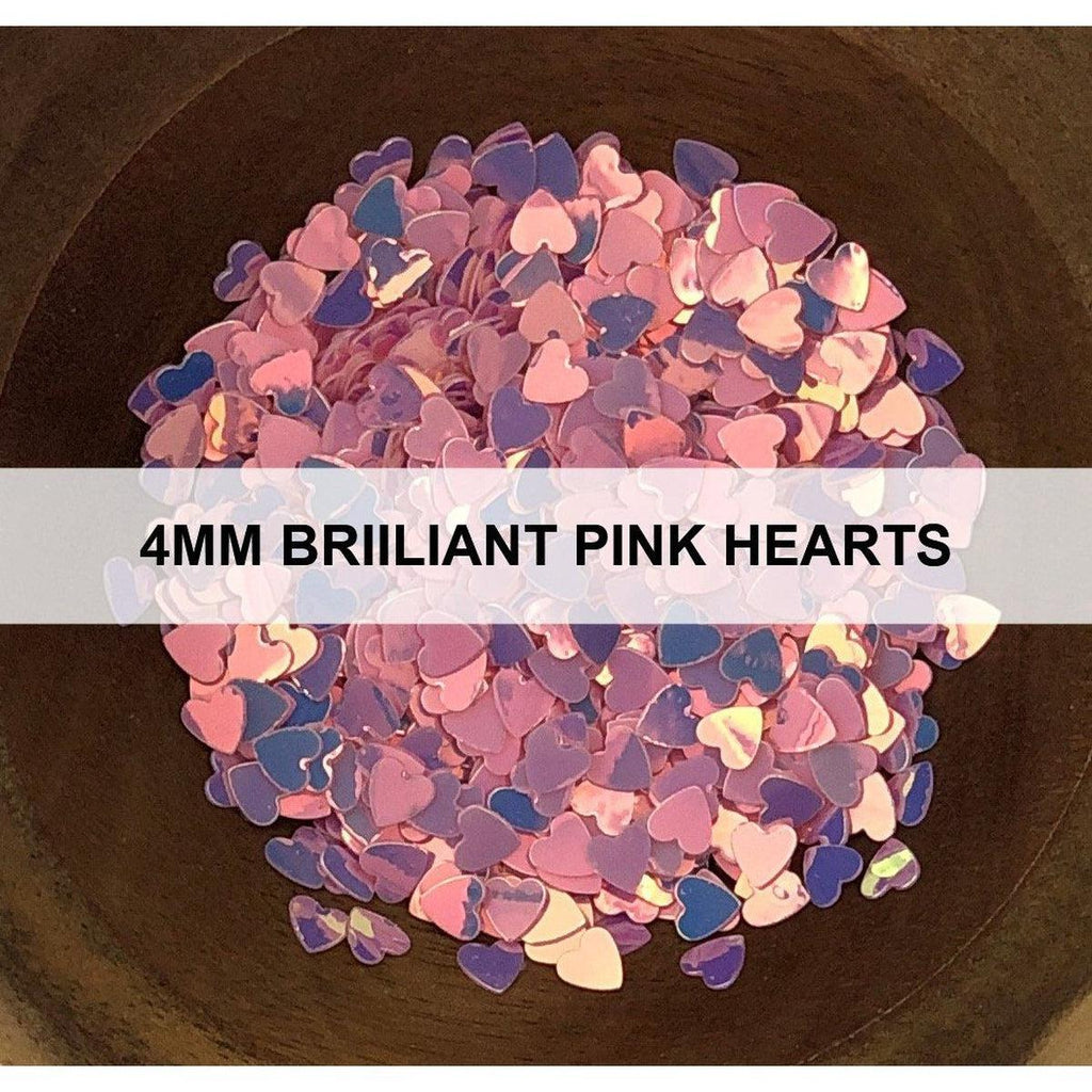 4mm Brilliant Pink Hearts - Sequins