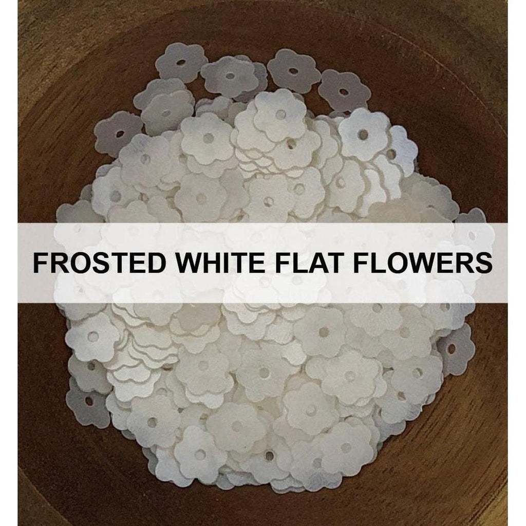 Frosted White Flat Flowers - Sequins - Kat Scrappiness