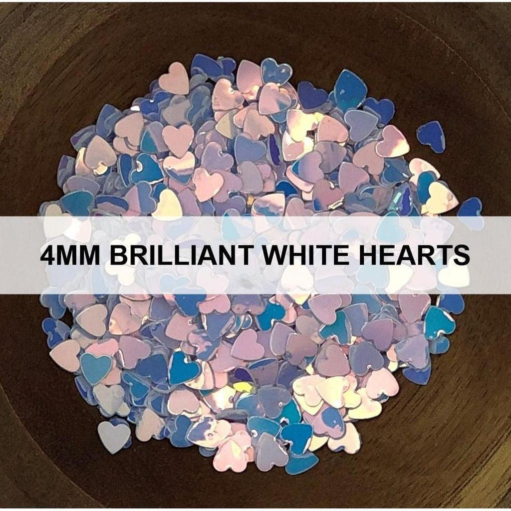 4mm Brilliant White Hearts - Sequins - Kat Scrappiness