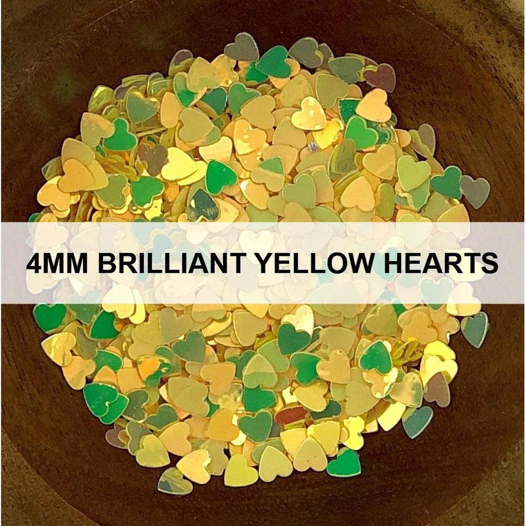 4mm Brilliant Yellow Hearts - Sequins - Kat Scrappiness