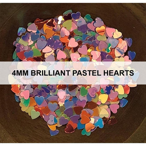 4mm Brilliant Pastel Hearts - Sequins - Kat Scrappiness