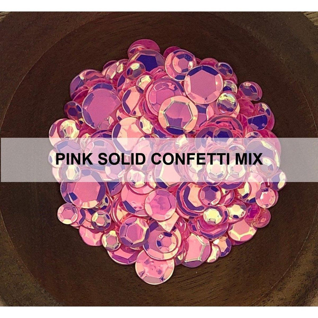 Pink Solid Confetti Mix - Sequins