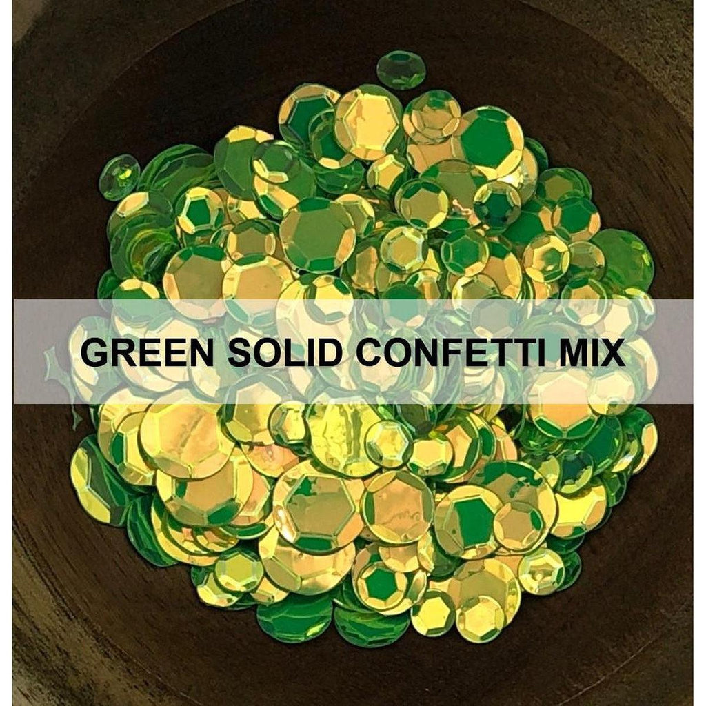 Green Solid Confetti Mix - Sequins - Kat Scrappiness