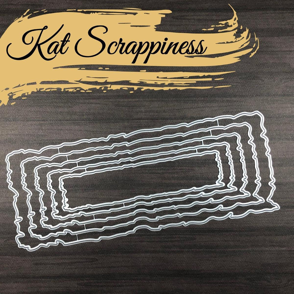 Distressed Edge Nesting Slimline Dies by Kat Scrappiness - PRE-RELEASE - Kat Scrappiness