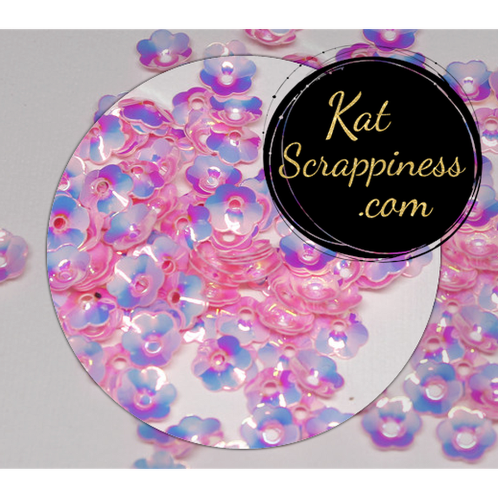 6mm Pink Flower Blossoms Sequins - Kat Scrappiness