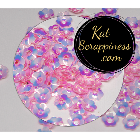 6mm Pink Flower Blossoms Sequins - Shaker Card Fillers - Kat Scrappiness