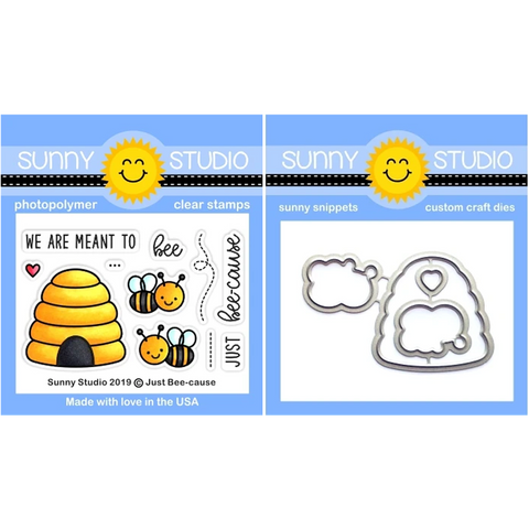 Just Bee-cause Clear Stamps and Coordinating Dies by Sunny Studios - Kat Scrappiness