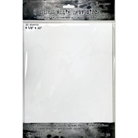 "Tim Holtz Distress White Heavystock - 8.5"" x 11"" -  10/Pkg"