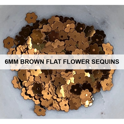 6mm Brown Flat Flower Sequins