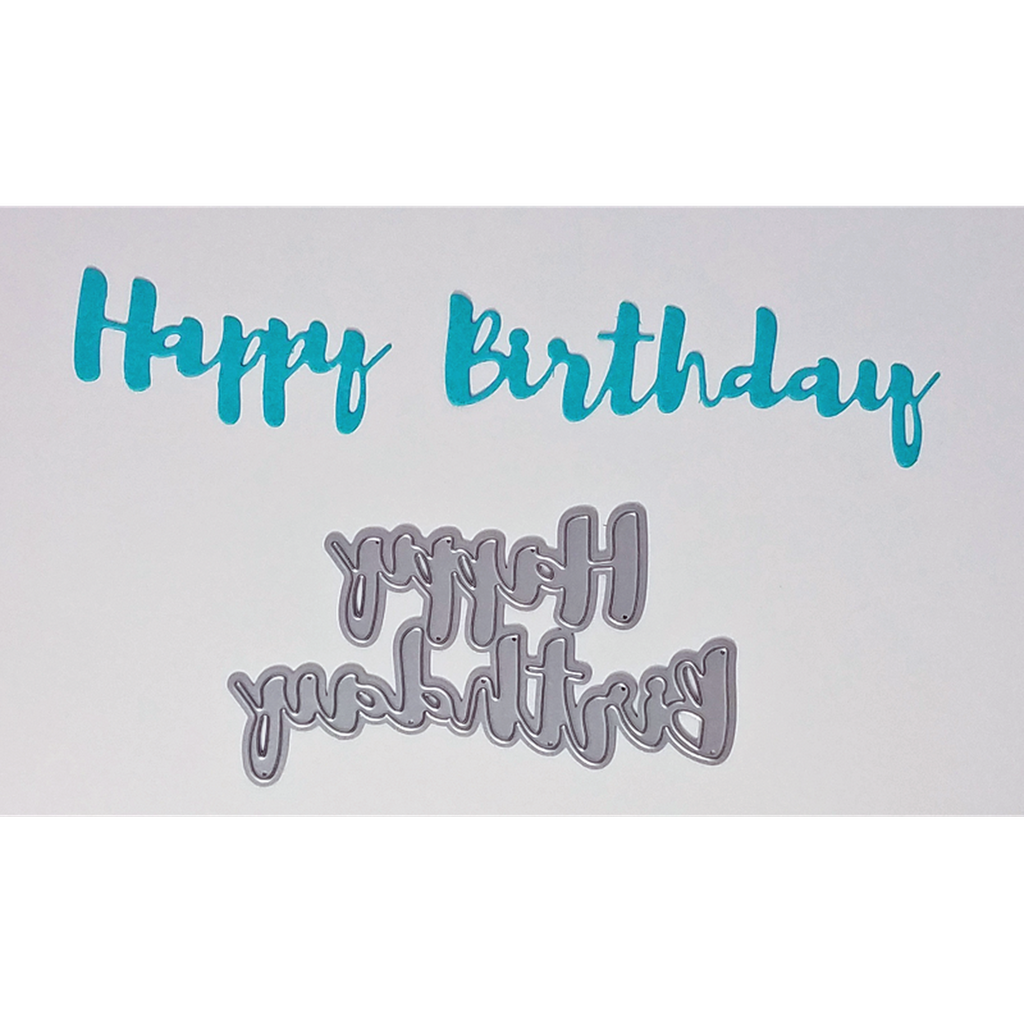 """Happy Birthday"" Brush Script Word & Sentiment Die by Kat Scrappiness - Kat Scrappiness"
