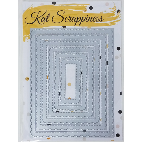 Stitched Fancy Scalloped Rectangle Dies by Kat Scrappiness - Kat Scrappiness