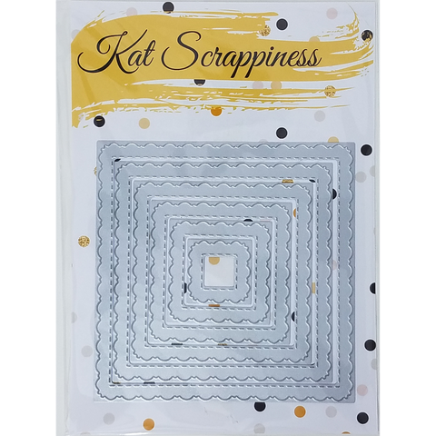 Stitched Fancy Scalloped Square Dies by Kat Scrappiness - Kat Scrappiness