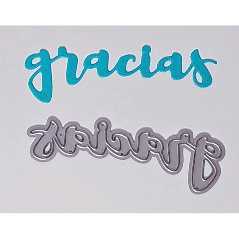"""Gracias"" Brush Script Word & Sentiment Die by Kat Scrappiness - Kat Scrappiness"