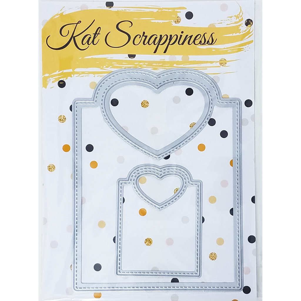 Stitched Heart Tags Dies by Kat Scrappiness - Kat Scrappiness