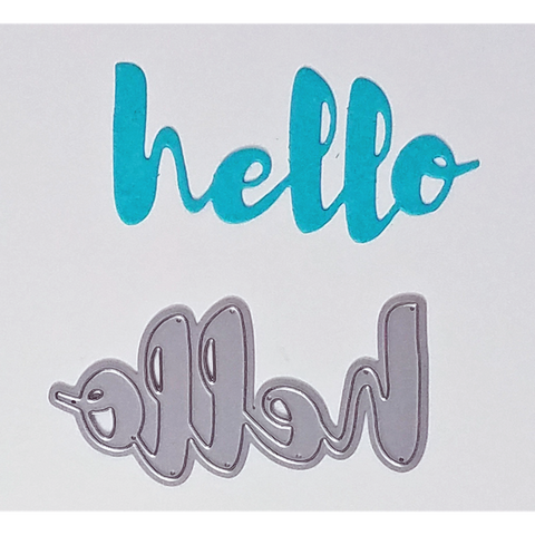 """Hello"" Brush Script Word & Sentiment Die by Kat Scrappiness - Kat Scrappiness"