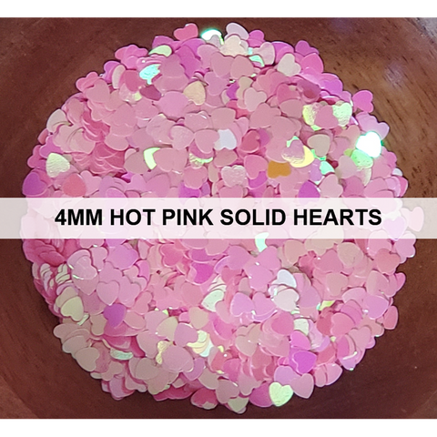 4mm Solid Hot Pink Heart Sequins - Kat Scrappiness