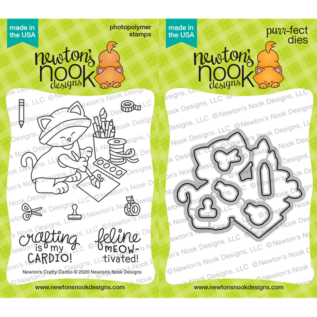 Newton's Crafty Cardio Stamp & Die Combo from Newton's Nook - Kat Scrappiness