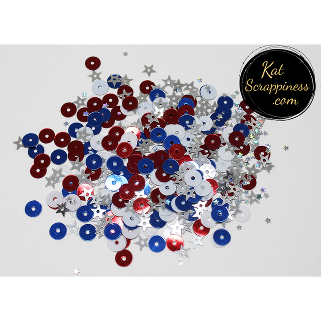 Patriotic Sequin Mix - Shaker Card Fillers - NEW! - Kat Scrappiness