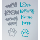 Pet Sentiments Brush Script Word & Sentiment Die Set by Kat Scrappiness - Kat Scrappiness