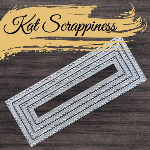 Stitched Scalloped Nesting Slimline Dies by Kat Scrappiness - RESERVE** - Kat Scrappiness