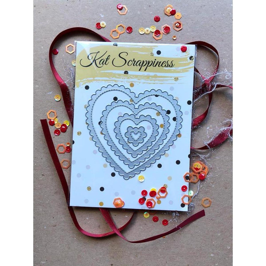 Stitched Scalloped Heart Dies by Kat Scrappiness