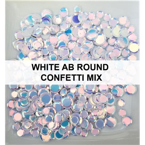 White AB Solid Confetti Sequin Mix
