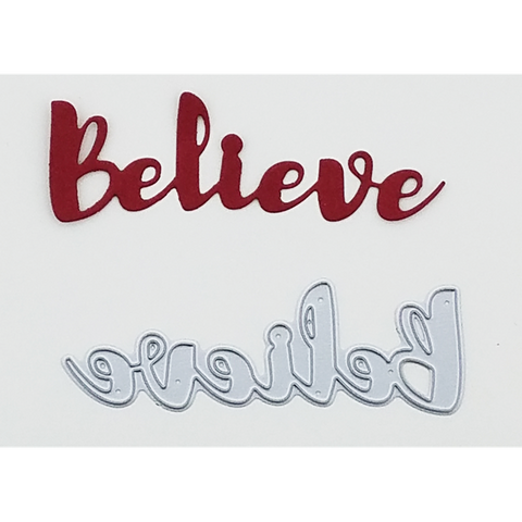 """Believe"" Brush Script Word & Sentiment Die by Kat Scrappiness - Kat Scrappiness"