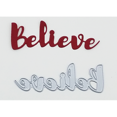 """Believe"" Brush Script Word & Sentiment Die by Kat Scrappiness"