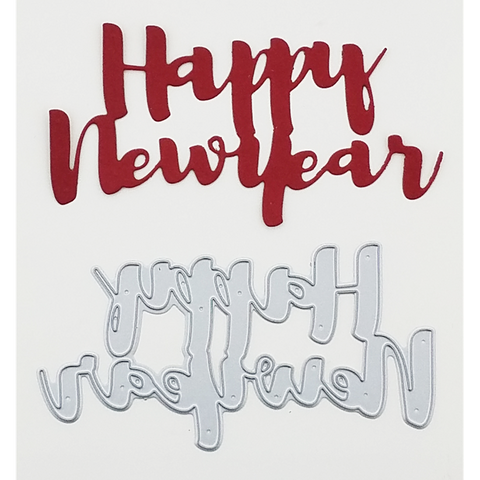 """Happy New Year"" Brush Script Word & Sentiment Die by Kat Scrappiness - Kat Scrappiness"
