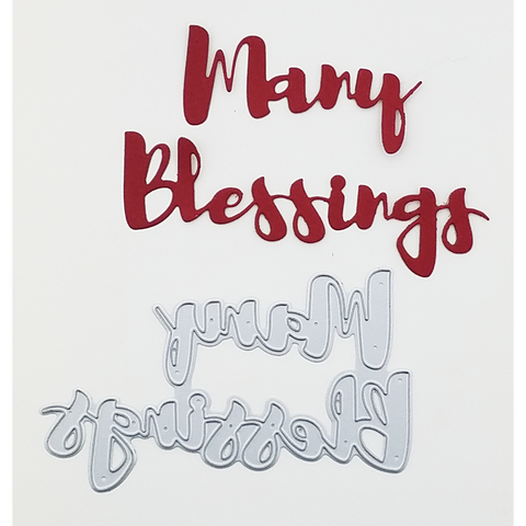 """Many Blessings"" Brush Script Word & Sentiment Die by Kat Scrappiness - Kat Scrappiness"