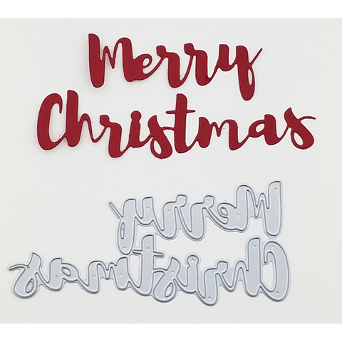 """Merry Christmas"" Brush Script Word & Sentiment Die by Kat Scrappiness - Kat Scrappiness"