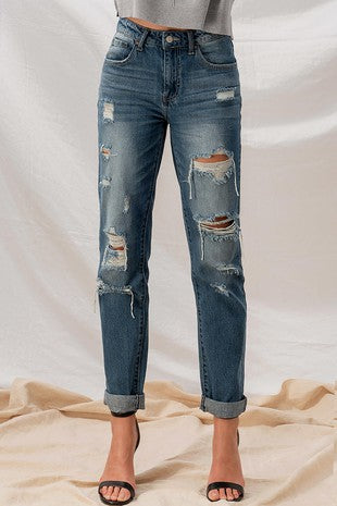 Distressed Boyfriend Denim Jeans