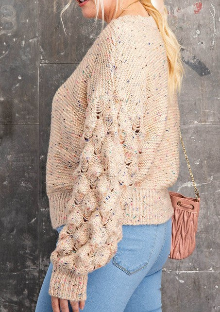 Bubble Sleeve Round Neck Multi Spotting Thread Color Sweater